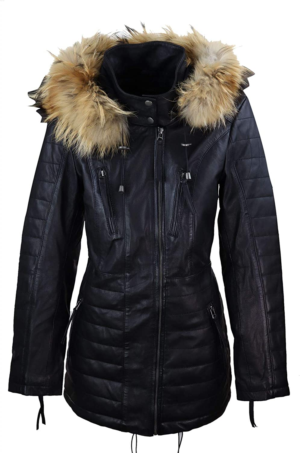 Ladies Real Leather Black Trench Mid Length Hood Raccoon Fur Winter Retro Jacket