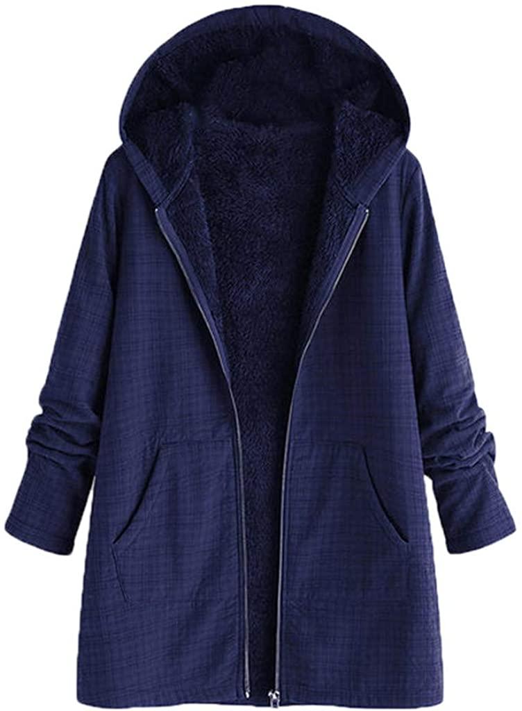 TWGONE Fuzzy Jacket Women Zip Up Plus Size Winter Warm Outwear Lattice Hooded Pockets Vintage Coats