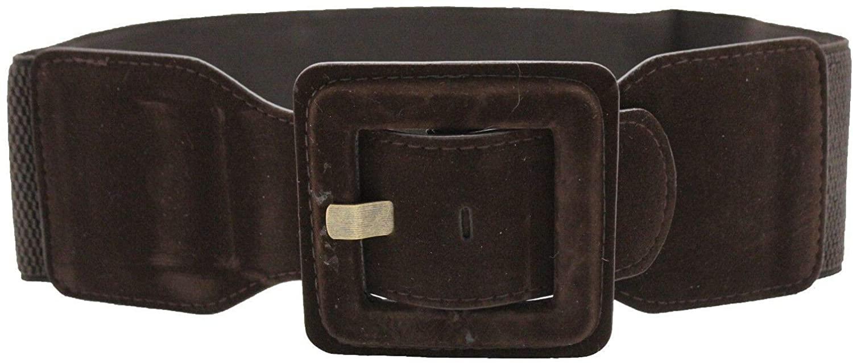 TFJ Women Elastic Belt Waist Hip Square Buckle Faux Suede Leather S M Dark Brown