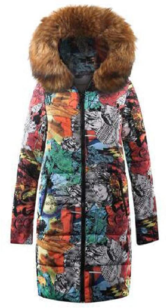 Doufine Womens Faux Fur Collar Padded Cotton Hooded Printed Outwear Jacket