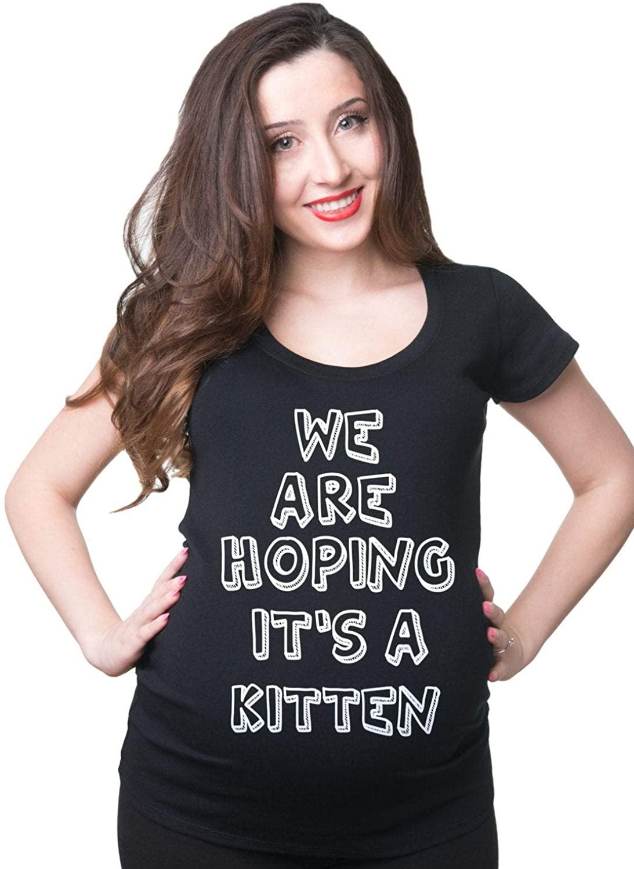 Pregnancy T-Shirt Tshirts We are Hoping Its A Kitten Maternity Tee Funny Pregnancy T-Shirt Pregnancy Photo Shoot T-Shirt