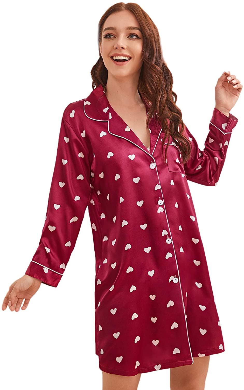 Floerns Women's Notch Collar Long Sleeve Satin Sleepwear Pajama