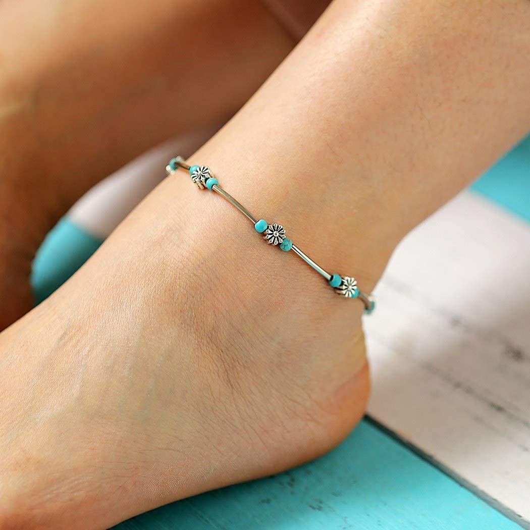 Geroki Boho Silver Anklets Flower Ankle Bracelets Fish Beach Turquoise Foot Chain Jewelry for Women and Girls