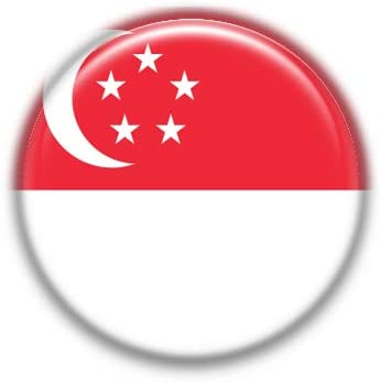 Singapore : National Flag, Pinback Button Badge 1.50 Inch (38mm)