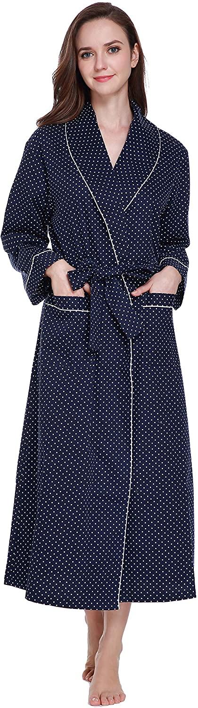 S-Forest Womens Woven Cotton Robe, Long Classic Kimono Lounge Bathrobe Robe