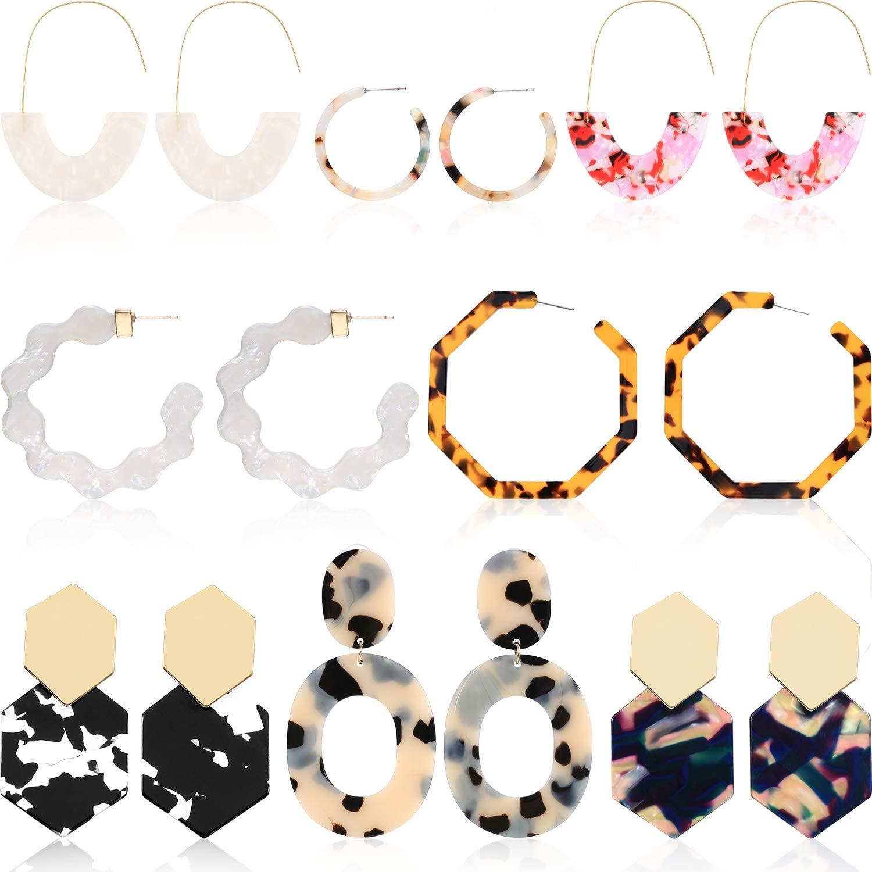 8 Pairs Resin Drop Hoop Dangle Earrings Acrylic Tortoise Shell Statement Earrings in Bohemian Style for Women Girls (Style Set 1)