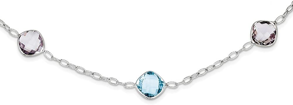 Sonia Jewels Sterling Silver 17.5In. Simulated Amethyst & Blue Simulated Topaz Necklace Chain (3mm)