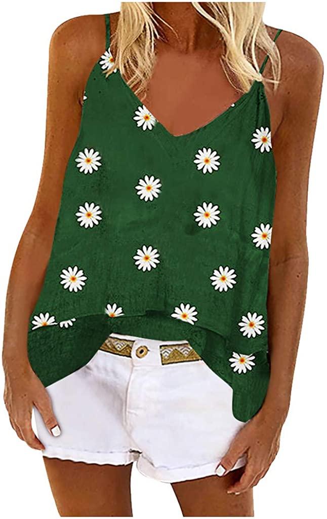 LEKODE Women Tank Tops Daisy Print Fashion Casual V-Neck Sleeveless Blouse