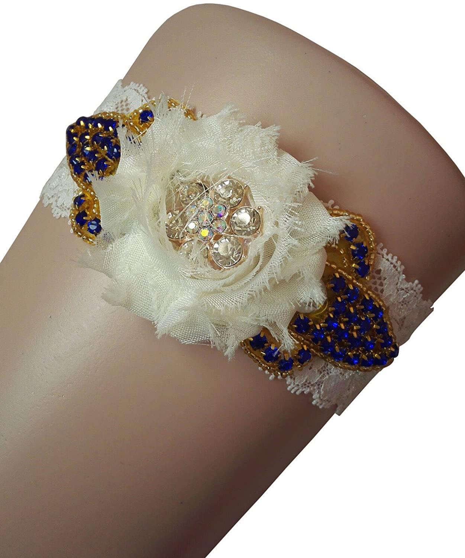 Miranda's Bridal Women's Beaded Floral Bridal Garters Wedding Garters