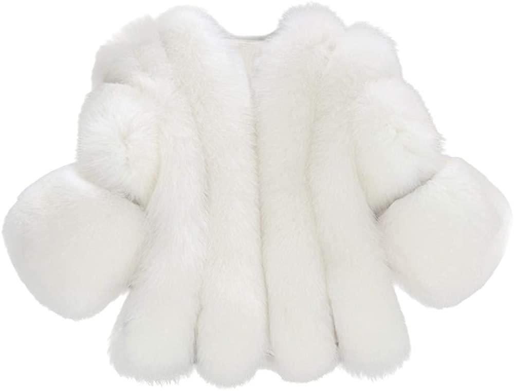 Eddizu Women's Jackets Faux Fur Coat Shearling Jacket 3/4 Sleeve Lapel Fluffy Fur Outwear