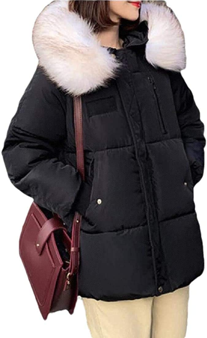 Jhsxydgy Womens Coats Outwear Quilted Winter Warm Fur Collar Hooded Thicken Jacket