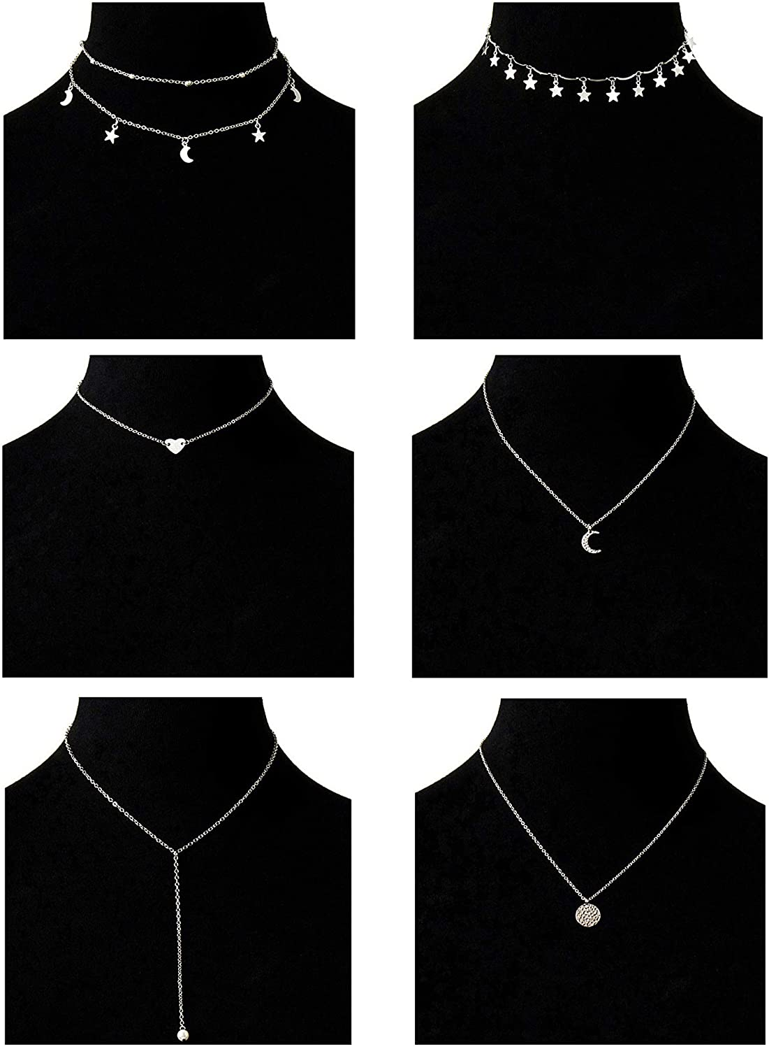 Masedy 6Pcs 18K Gold-plated Layered Pendant Choker Necklace Chain for Women Girls Moon Star Adjustable