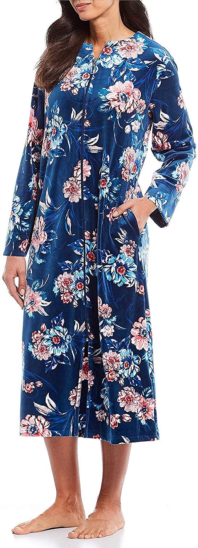 Miss Elaine Women's Velvet Fleece Floral Print Zip-Front Long Robe