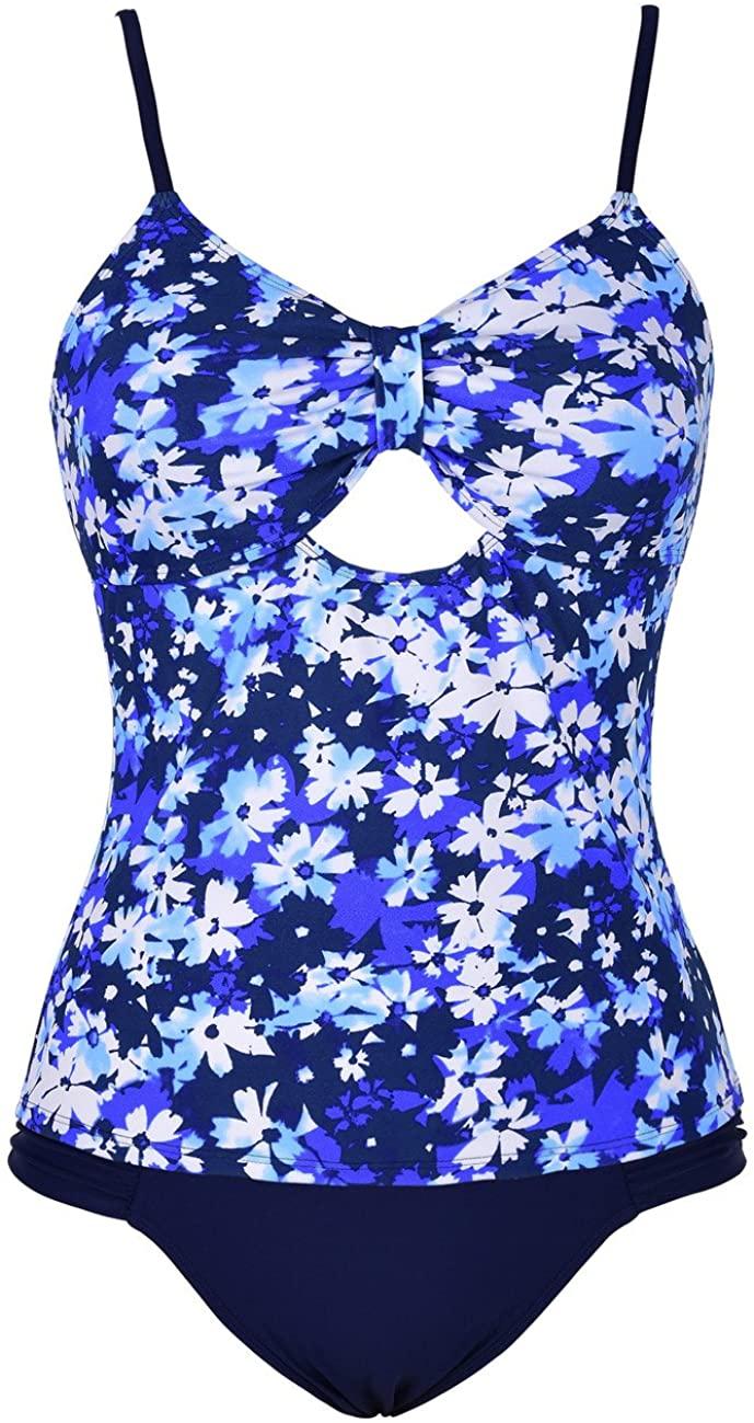 Hilor Women's Tankini Set Keyhole Swimwear Two Piece Swimsuits Front Tie Bathing Suit