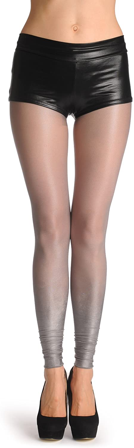 Extended Silver Ombre Metal Shiny Footless 40 Den - Pantyhose Footless