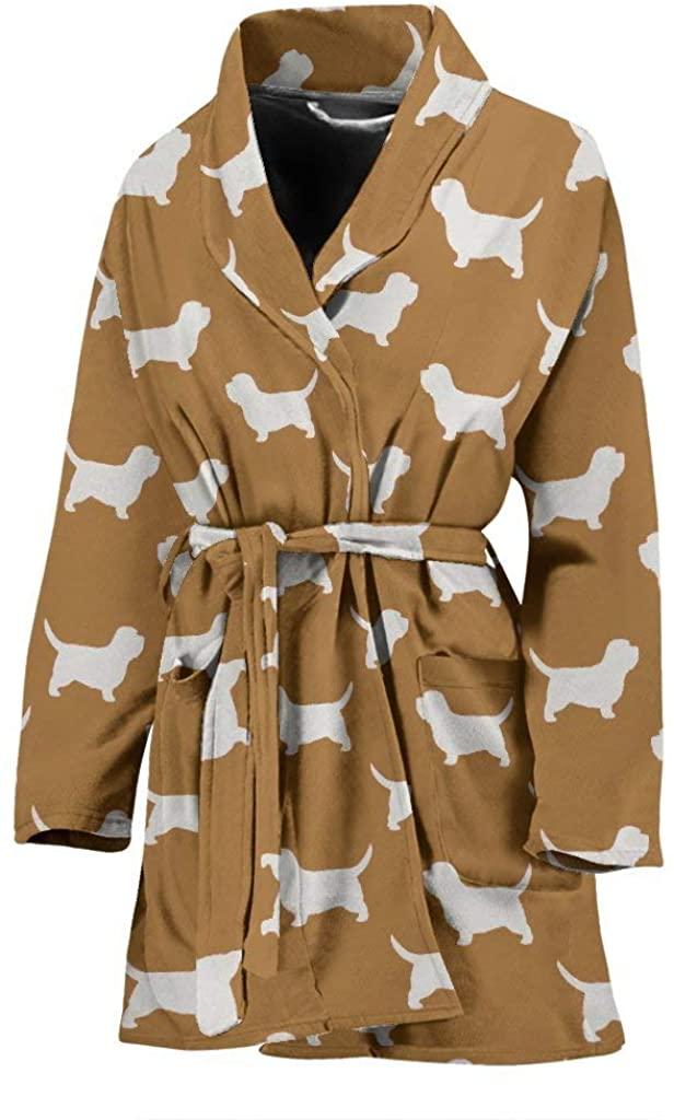 Petit Basset Griffon Vendeen Dog Pattern Print Women's Bath Robe