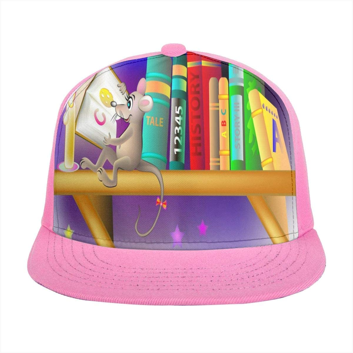 Sun Visor Hat Funny Rat Reading Book Baseball Cap Flat Brim Hat for Women Men Summer