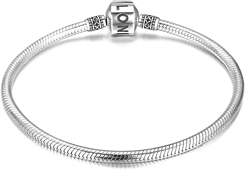 LONAGO Genuine Charm Bracelet 925 Sterling Silver Snake Chain Bangle Barrel Clasp Jewelry Fit Pandora Charm Birthday Gift for Women