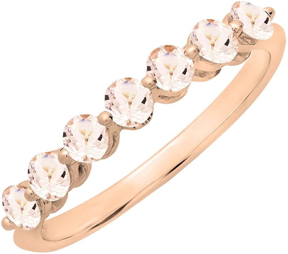 Dazzlingrock Collection 10K Round Morganite Ladies 7 Stones Wedding Band Ring, Rose Gold