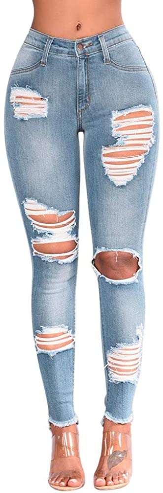 Fandream Stretchy Light Blue Ripped Skinny High Waisted Jeans for Women Summer Plus Size
