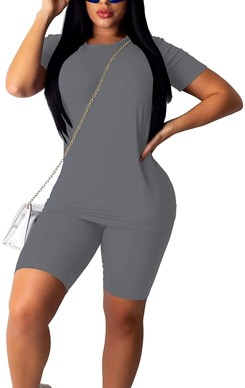 Women 2 Piece Tracksuit Sports Outfits Short Sleeve Top High Waist Shorts Set