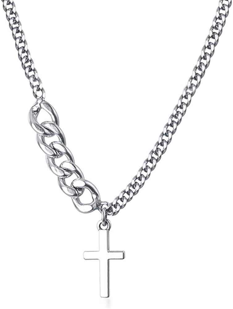 HUJUON Ins Style Cross Chain Choker Necklace for Girl Teens. Punk Gothic Alloy Cross Short Necklace Sweater Chain Necklace for Women