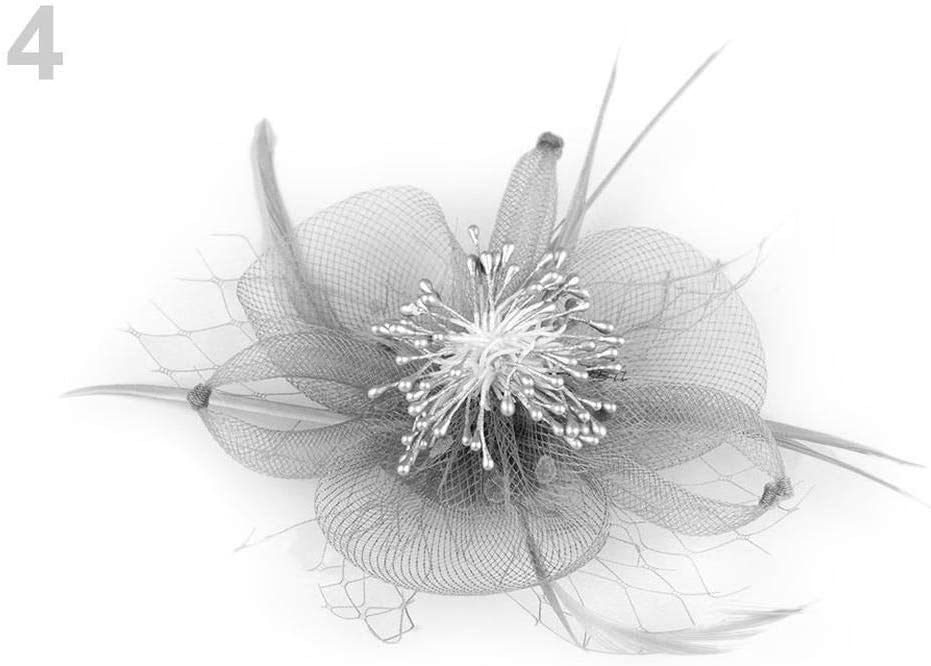 1pc (027) Lightgrey Fascinator/Brooch Flower, Fascinators, Fashion Hats and, Accessories