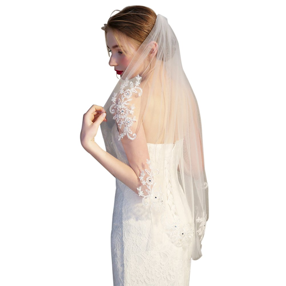 Frcolor Bridal Veil Short wedding vails with Lace Appliques and Elegent Crystal Beaded (Off-White)