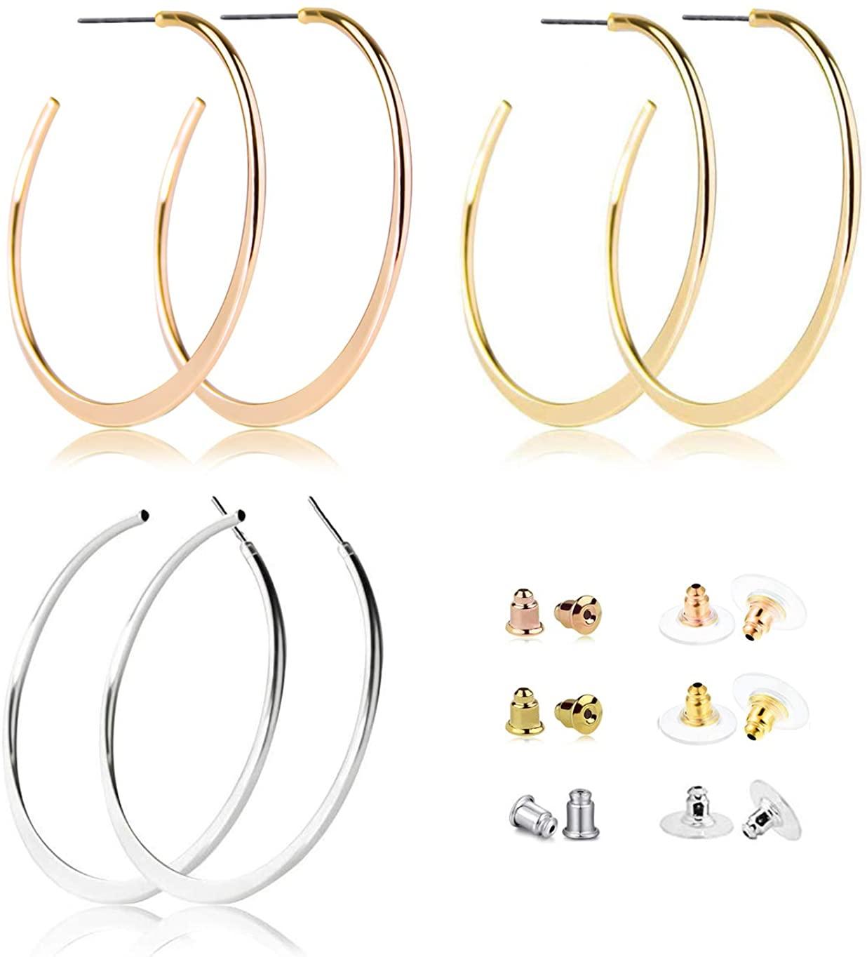 3 Pairs Big Hoop Earrings Stainless Steel Posts Flattened Hoop Earrings in Gold 10K Rose Gold Silver Plated for Women Girls 55mm Sensitive Hypoallergenic