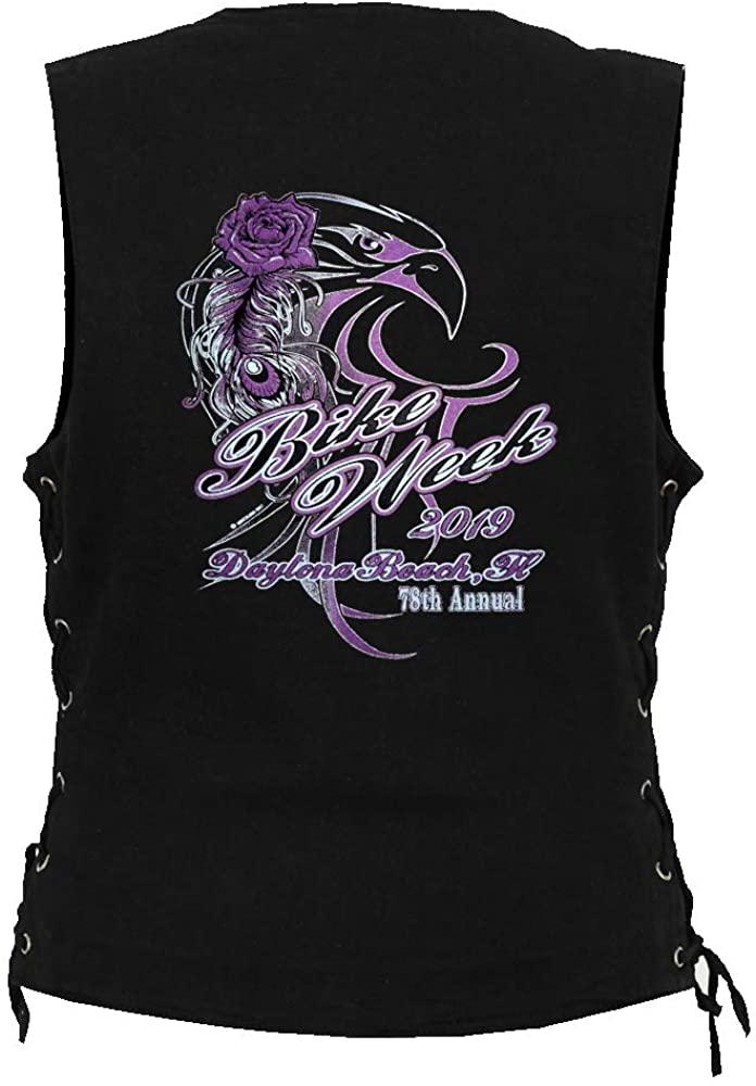 Leather Supreme Women's Daytona Beach Bike Week 2019 Biker Denim Vest