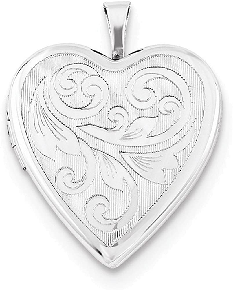 Sterling Silver Rhodium-plated Textured & Polished Swirl Heart Locket