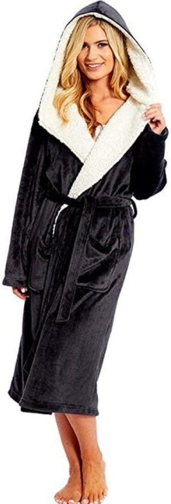 llwannr Bathrobe Robe Nightgown Sleep,Women Winter Plush Lengthened Shawl Bathrobe Home Clothes Long Sleeved Robe Coat Home Clothes Long Sleeve Robe Coat Bath Robe,Black,XL