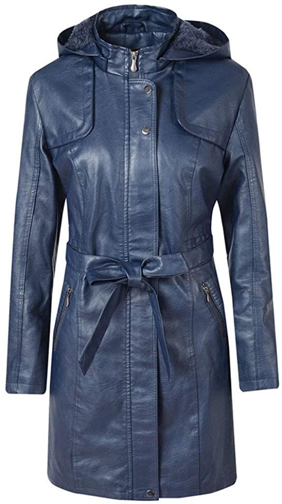 Bowake Women Warm Slim Zipper Jacket Thick Parka Overcoat with Removable Hood