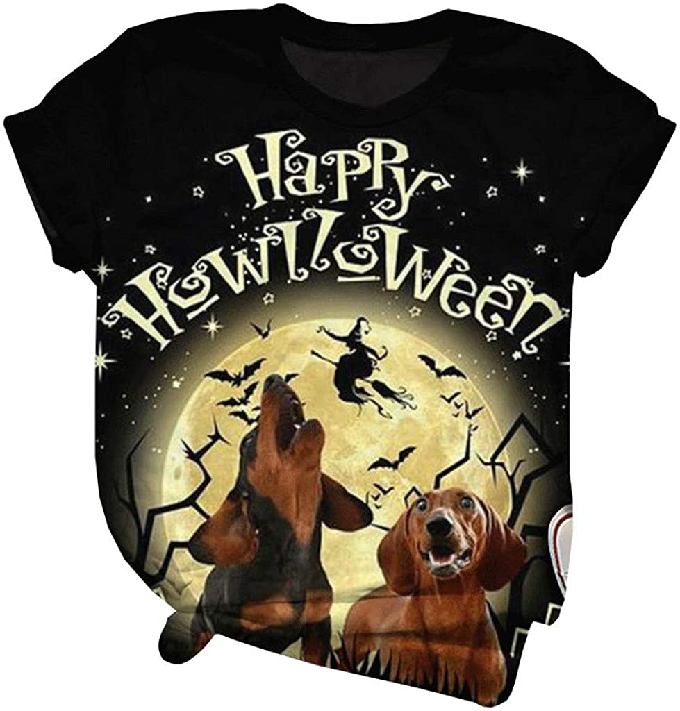 LINKIOM Halloween Printed Women's T-Shirt Short Sleeved Blouse with Round Neck Blouse