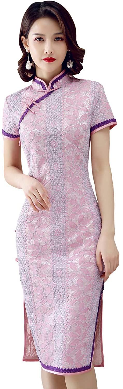 Shanghai Story Short Sleeve Cheongam Dress Lace Qipao Chinese Traditional Dress