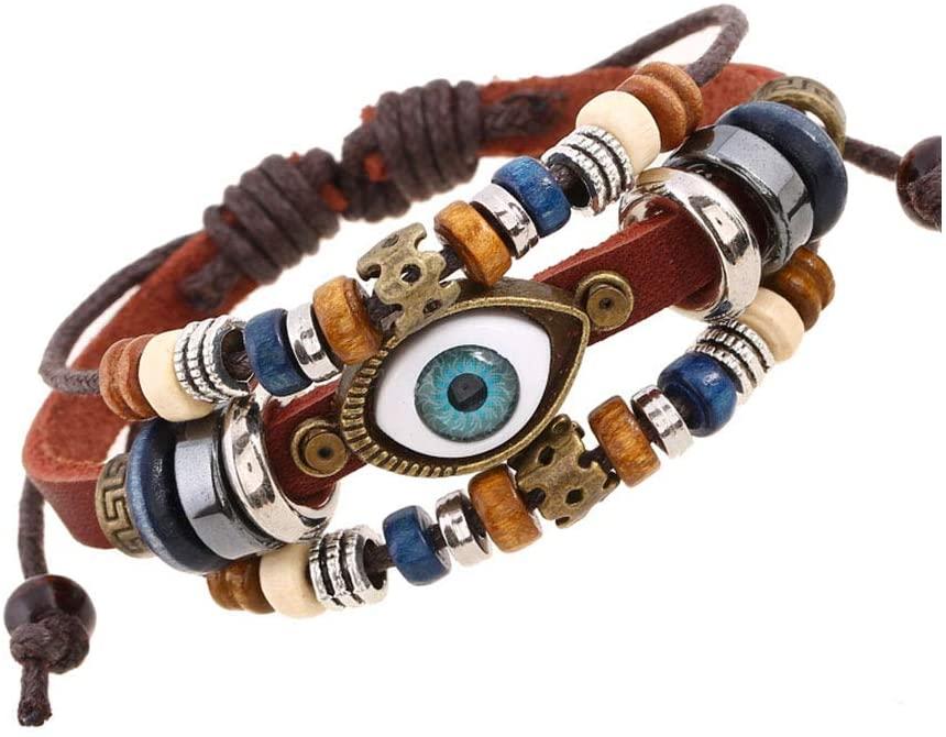 Yehyep Leather Woven Bracelets, Men Women Punk Adjustable Handmade Multi Strand Braided Cowhide Bracelets Leather Wristbands Wooden Beads Bracelet