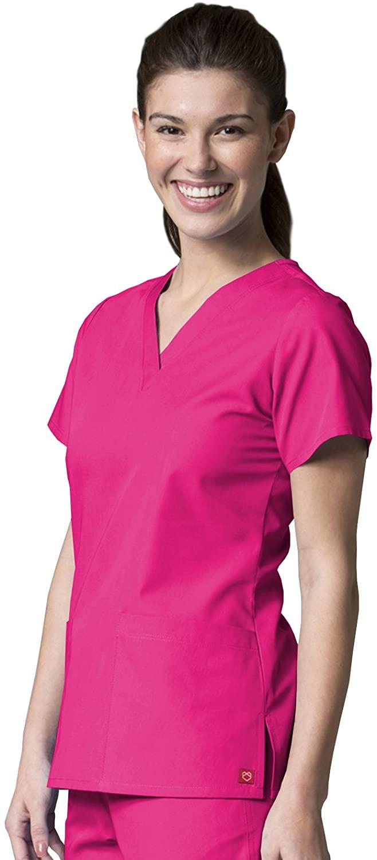 Maevn 1716 V-Neck Two Pocket Top Candy Pink XXS