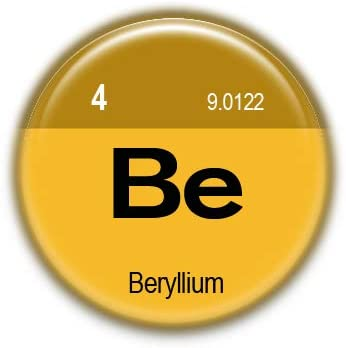 4 Beryllium : Elements of the Periodic Table, Pinback Button Badge 1.50 Inch (38mm)