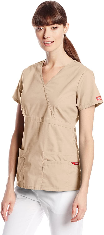 Dickies Women's EDS Signature Scrubs Jr. Fit Mock Wrap Top