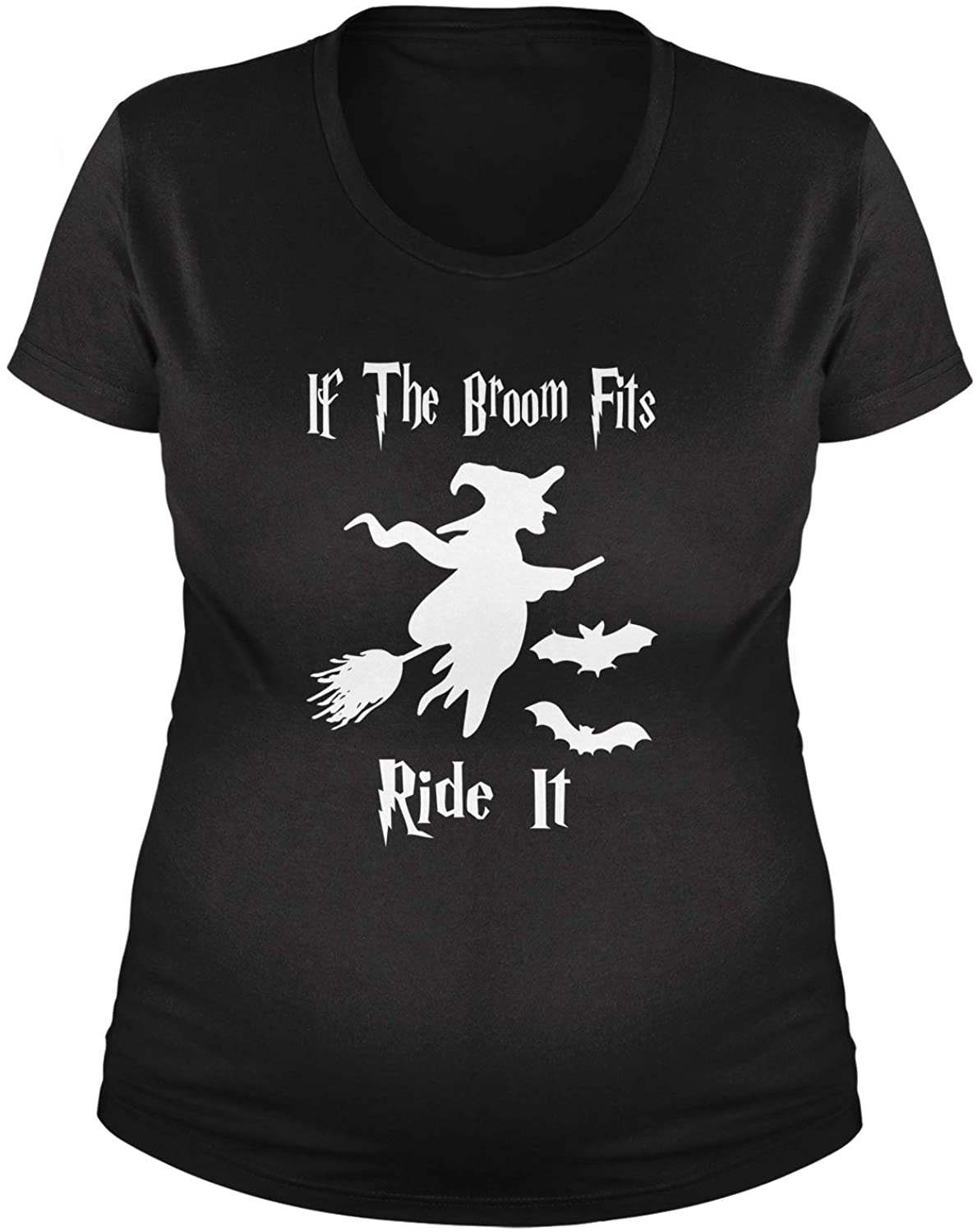 Expression Tees If The Broom Fits Ride It Witch Maternity Pregnancy Scoop Neck T-Shirt