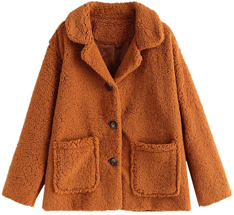 ZAFUL Pocket Single Breasted Fluffy Teddy Coat Sherpa with Pocket Faux Fur Teddy Winter Jacket