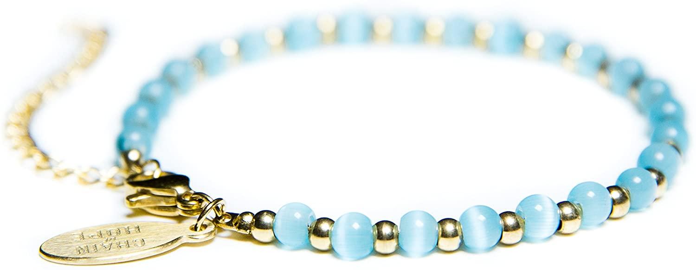 Beaded Bracelets for Women - Celebrity Endorsed 14k Gold Bracelets Turquoise Bracelet Gemstone Bracelet Aqua Cat Eye Charm Fashionable Handmade Crystal Jewelry for Giving Back