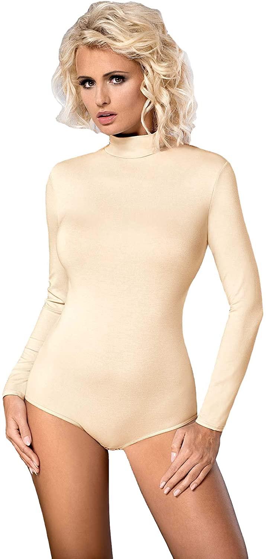Vestiva Bodysuit with Half Roll-Neck and Long Sleeve Women Lingerie Ecru