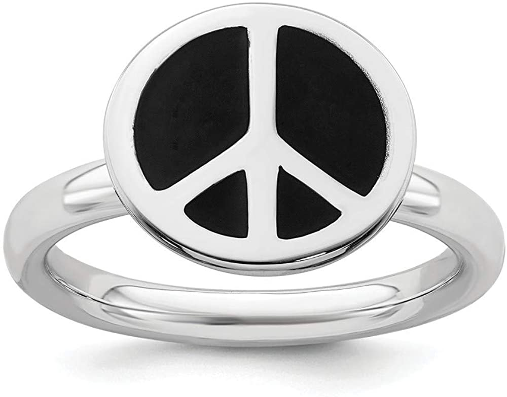 Beautiful Sterling silver 925 sterling SS Stackable Expressions Polished Black Enameled Peace Sign Ring