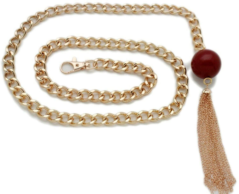 TFJ Women Fashion Belt Gold Metal Chain Big Red Ball Long Fringe Tassel Charm XS S M