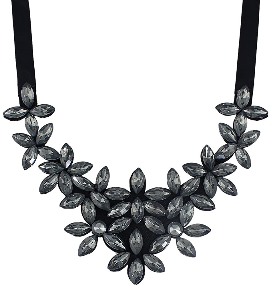 Feelnear Elegant Rhinestone Flower Party Collar Necklaces Accessories