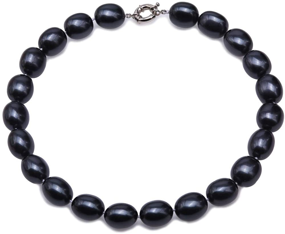 JYX Pearl Necklace 14.5×19.5mm South Sea Shell Pearl Necklace Black Oval Beads Necklace for Women 17.5''