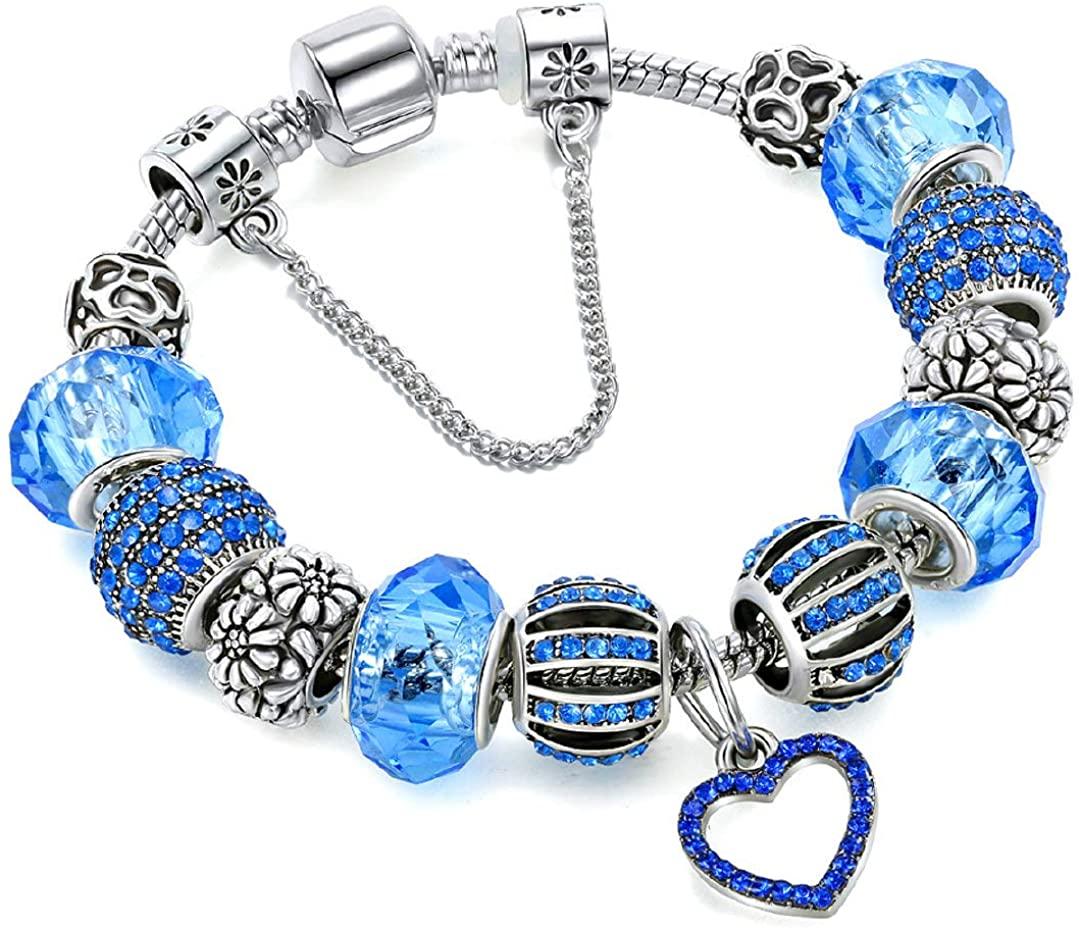 Hottime Adjustable Charm Bracelet for Womens Silver Plating Bangle Rhinestone Crystal Snake Chain