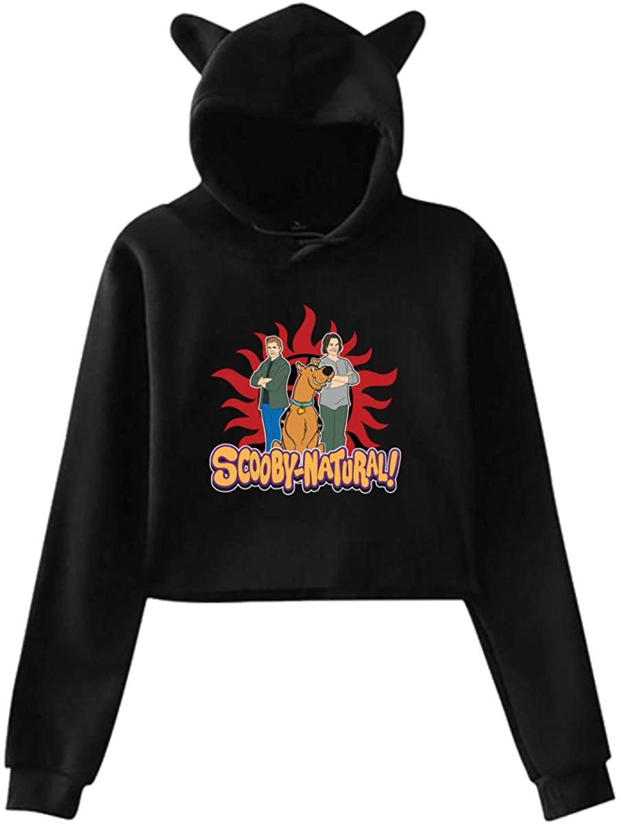 Scooby-Doo Cat Ear Hoodie Sweater Hooded Pullover Girls Women Leak Navel Sweatshirt Black