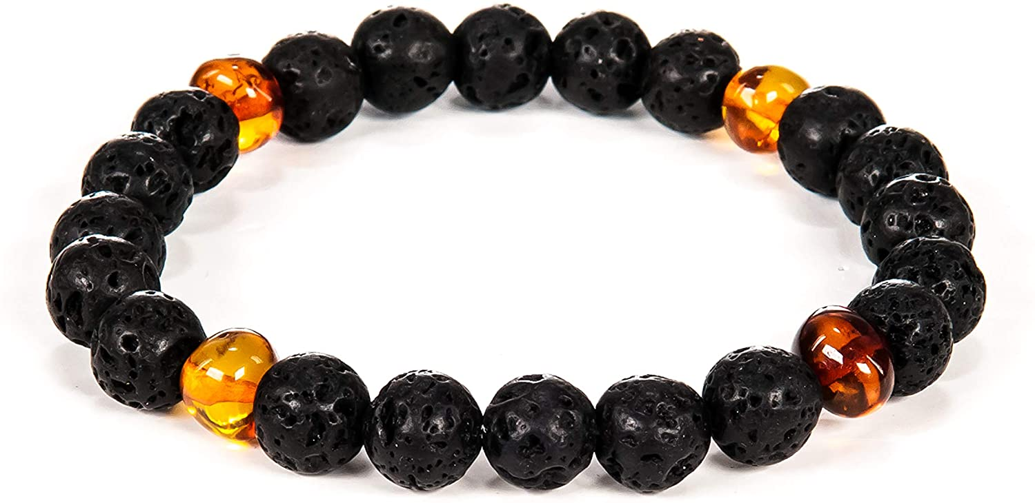 AMBERAGE Natural Baltic Amber - Lava Bracelet for Adults (Women/Men) - Hand Made from Lava and Polished/Certified Baltic Amber Beads(3 Colors- 2 Sizes)